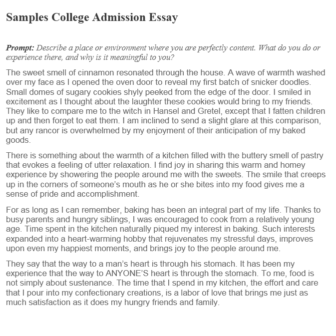 College entrance essay sample