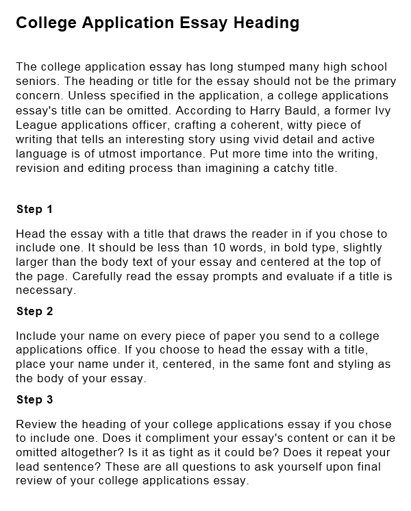 College Application Essay Heading ORDER PAPERVIEW SAMPLE
