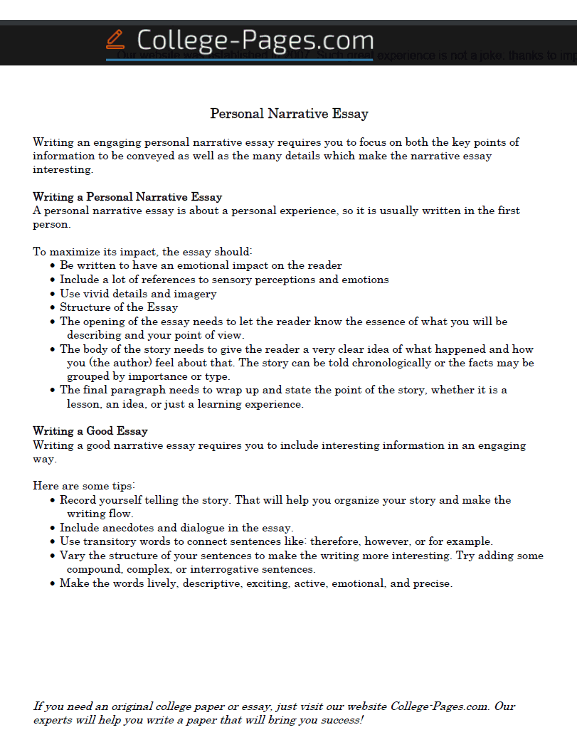 Buying a descriptive essay for college